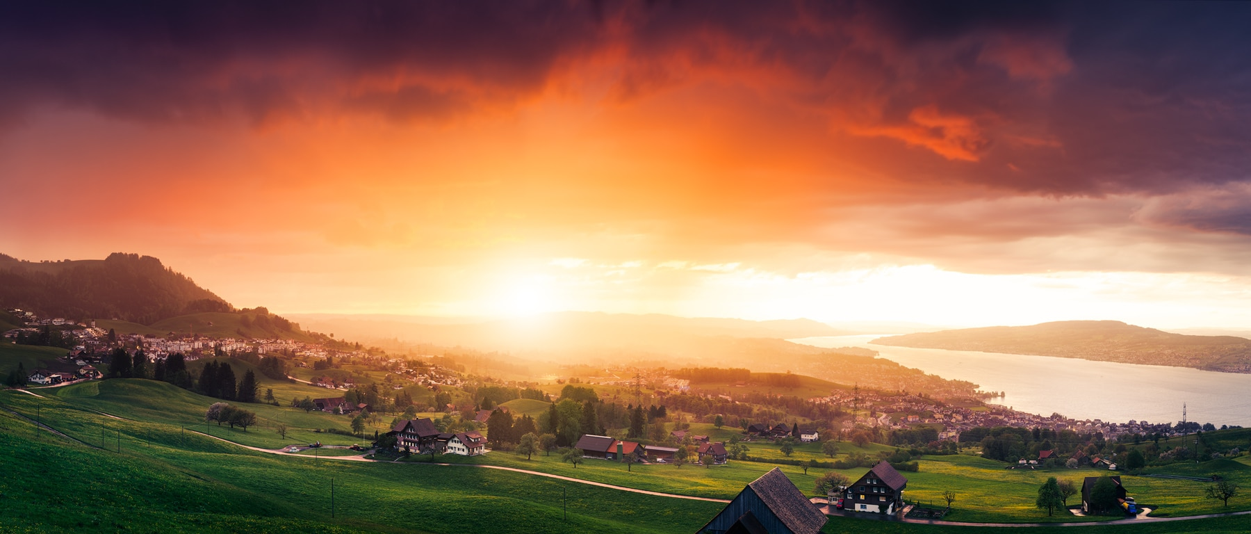Air-Shots - Schindellegi Sunset Zuerich Lifestyle Immobilien AG Projekt Mirador