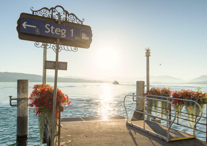Zürich, Wädenswil, Sonnenaufgang, Hafen, Schiff, Pier, Zürichsee
