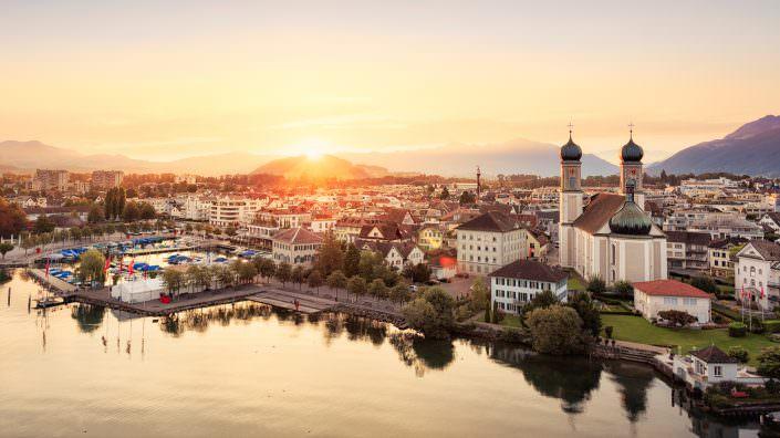 Luftaufnahme, Schwyz, Lachen, Dorf, Sunrise