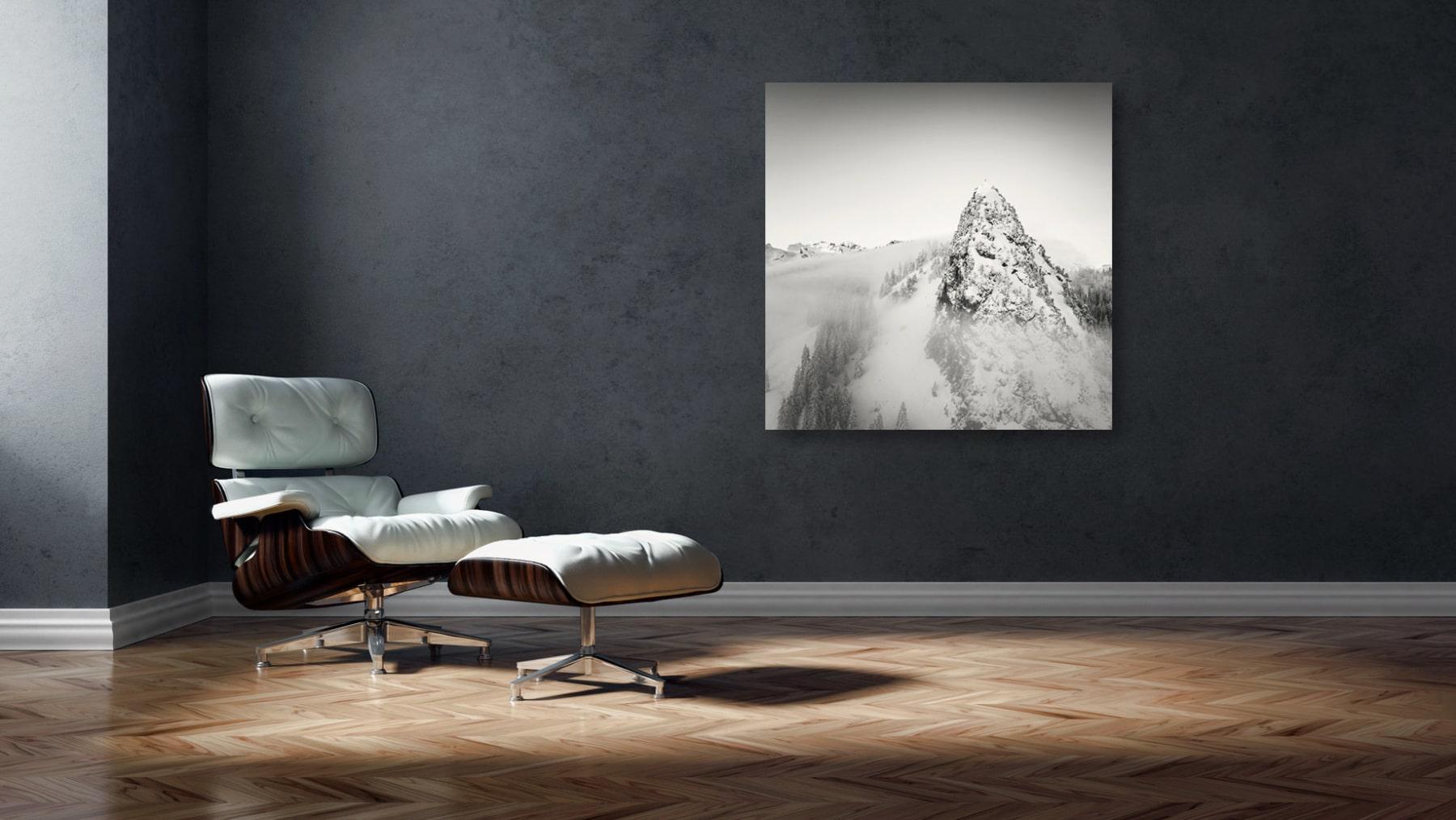 Luftaufnahme Chli Schijen, Ibergeregg, Winter, Schnee, Nebel, Innterschwyz, Schwyz,