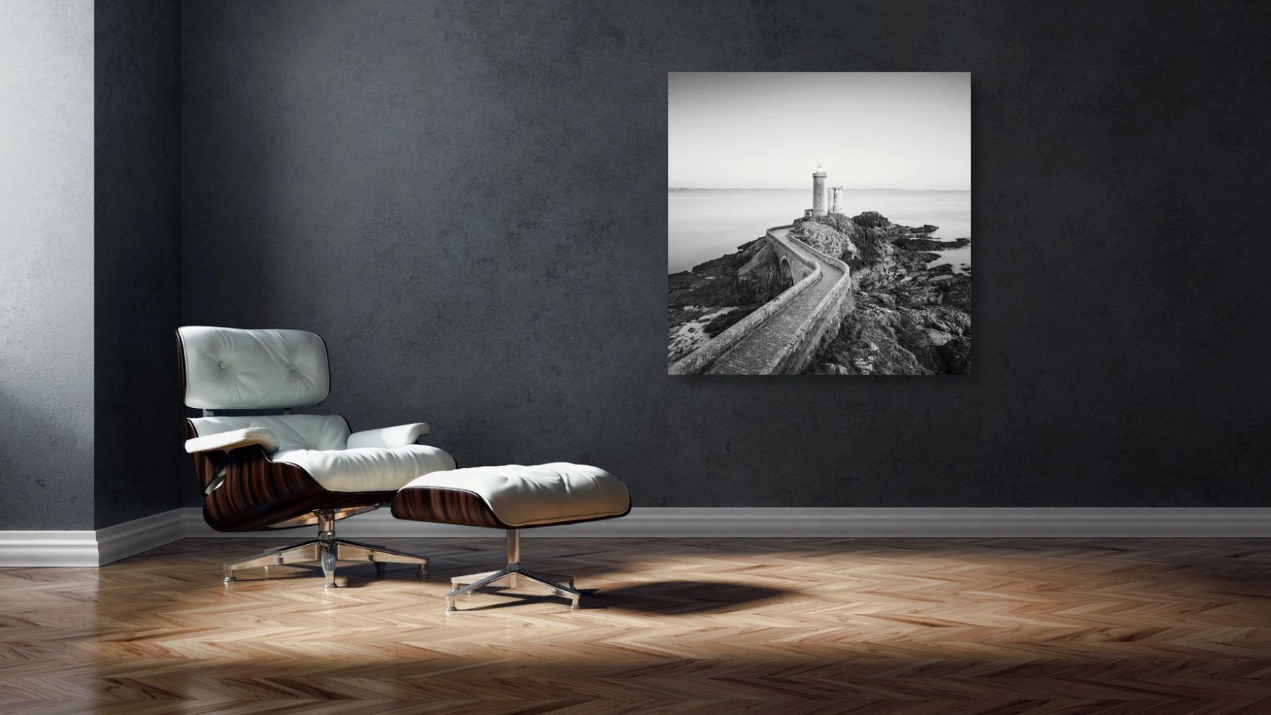 Schwarz-Weiss Studie - Frankreich, Bretagne, Küste, Leuchtturm, Petit Minou