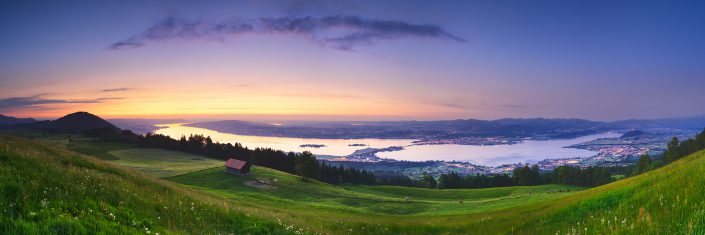 Sunset Pano - Zürichsee - Damm - Obersee © by Gerry Pacher