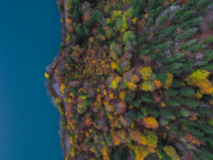 Luftaufnahme mit Drohne hoch über dem herbstlichen Klöntal (Kanton Glarus) mit Blick auf den Klöntalersee, die Uferstrasse und der herbstliche Mischwald.