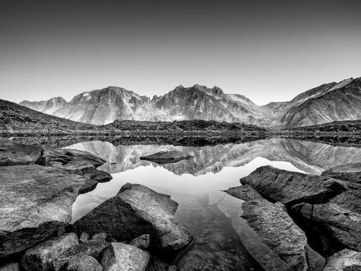 Switzerland, Mountain, Göeschenenalp, Lake, Bergsee, black and white study © by Gerry Pacher