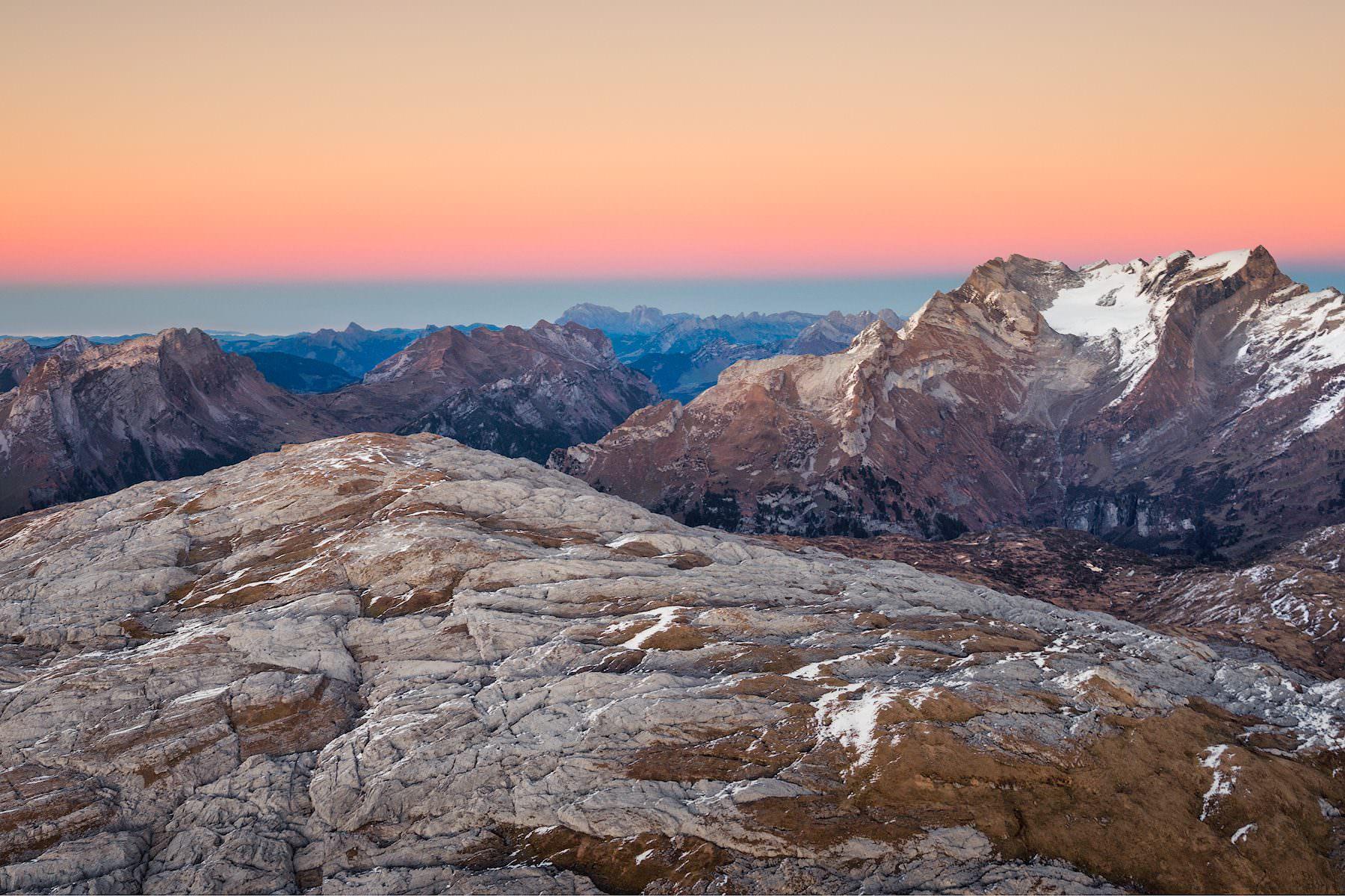 After Sunset Glow - Blick über die Silberen Richtung Glärnisch & Vrenelis Gärtli
