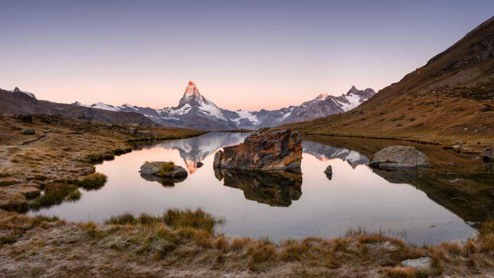 Switzerland, Schweiz, Wallis, Valais, Zermatt, Matterhorn, Stellisee, Herbst, Autumn, Sunrise, Sonnenaufgang§