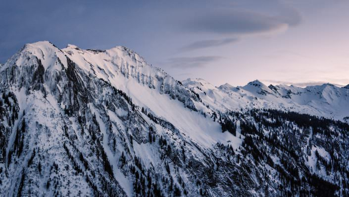 After sunset high altitude / low temperature flight at Sihlthal. Pano of 3 photographs.