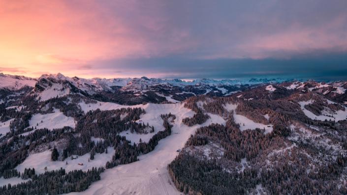Switzerland, Schwyz, Winter, Sunrise, Sattelegg, Drohne, Panorama Copyright © by Gerry Pacher