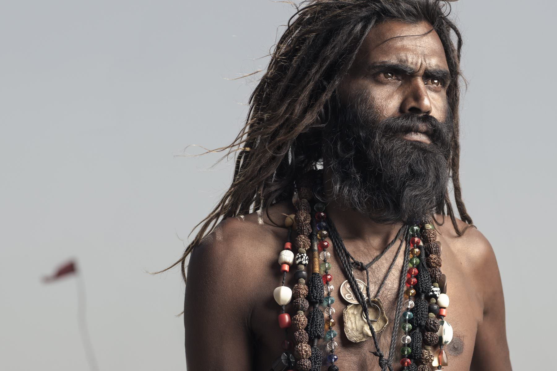 India, Varanasi, Aghori, Portrait, desert land