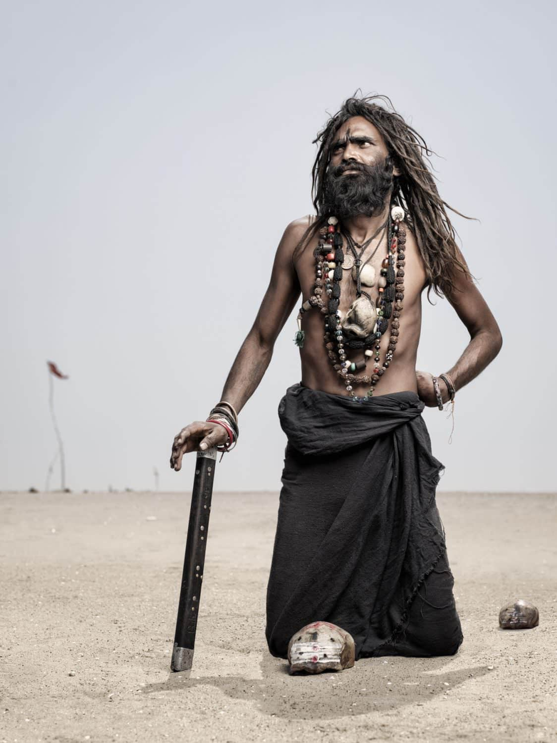 holy men, India, Varanasi, Aghori, looking up to lord Shiva