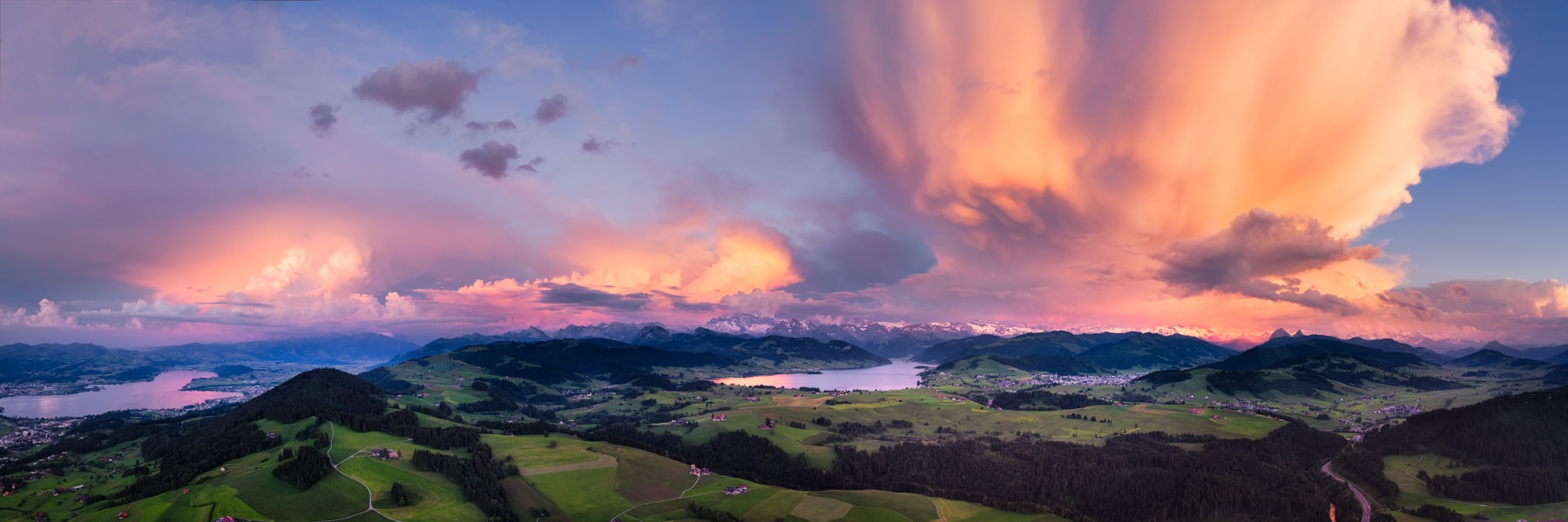 panoramic aerial photograph of major thunderstorm cells over central Schwyz
