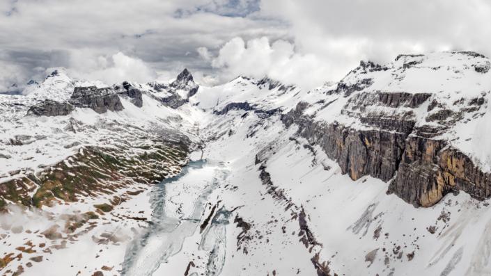 Aerial photography Switzerland, Schwyz, Bisisthal, Glattalp, Spring, Melting Time © by Gerry Pacher