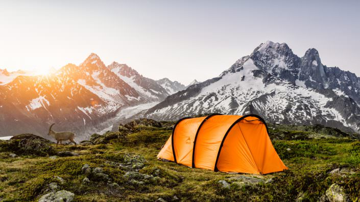 Sonnenaufgang in den französischen Alpen mit Steinbock. © by Gerry Pacher