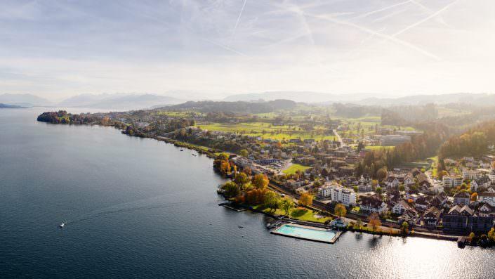 Zürichsee, Horgen, Strandbad, Luftaufnahmen Richtung Obersee
