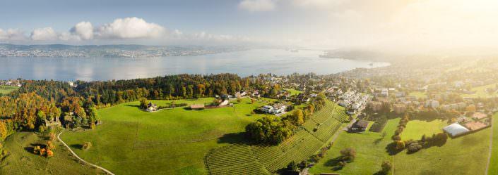 Luftaufnahme, Richterswil, Altschloss, Blick nach Osten © by Gerry Pacher