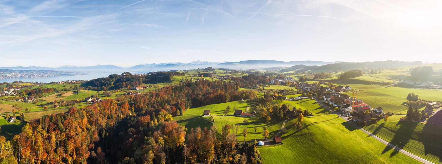 Luftaufnahme für das Bauprojekt - Arn Horgen, Lufaufnahmen Richtung Schwyz