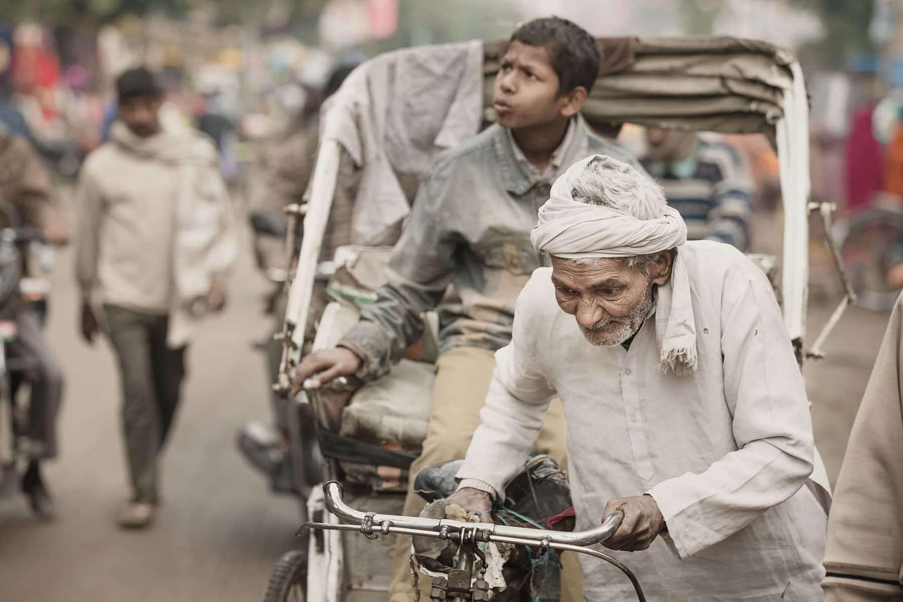 India, Varanasi, Street, bicycle rickshaw india