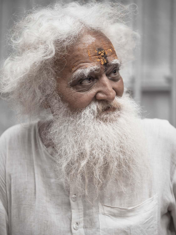 India, Varanasi, old wise Brahmin
