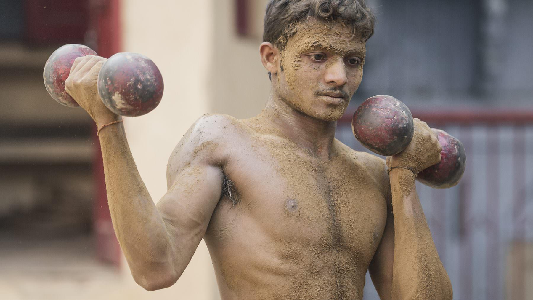 India, Varanasi, Mud Wrestler Workout