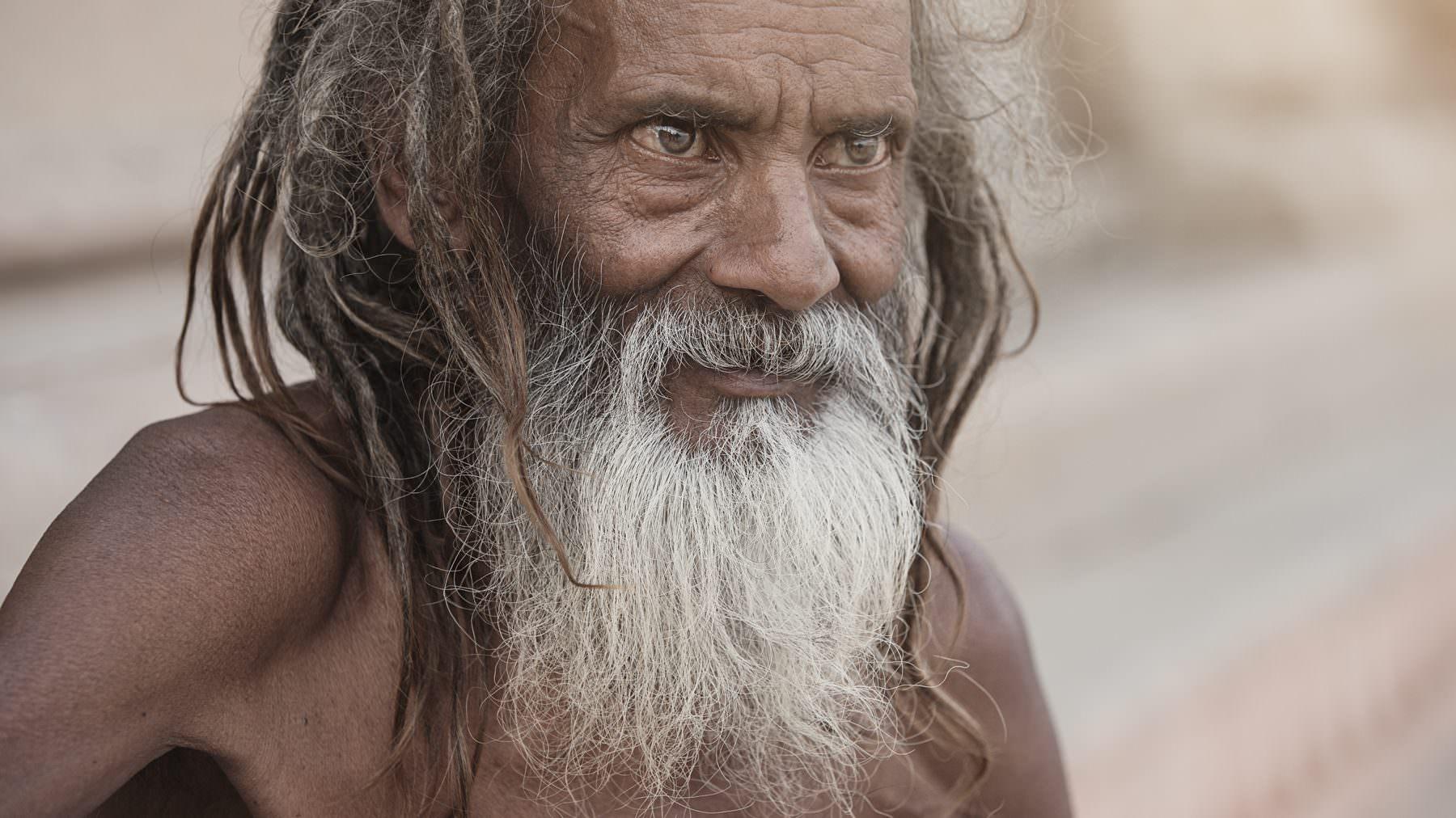 India, Varanasi, Ganga, old Sadhu
