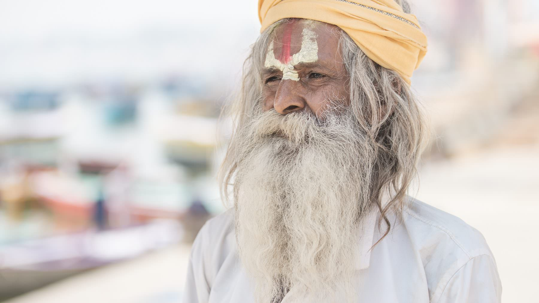 India, Varanasi, Ganga, White Wise Sadhu