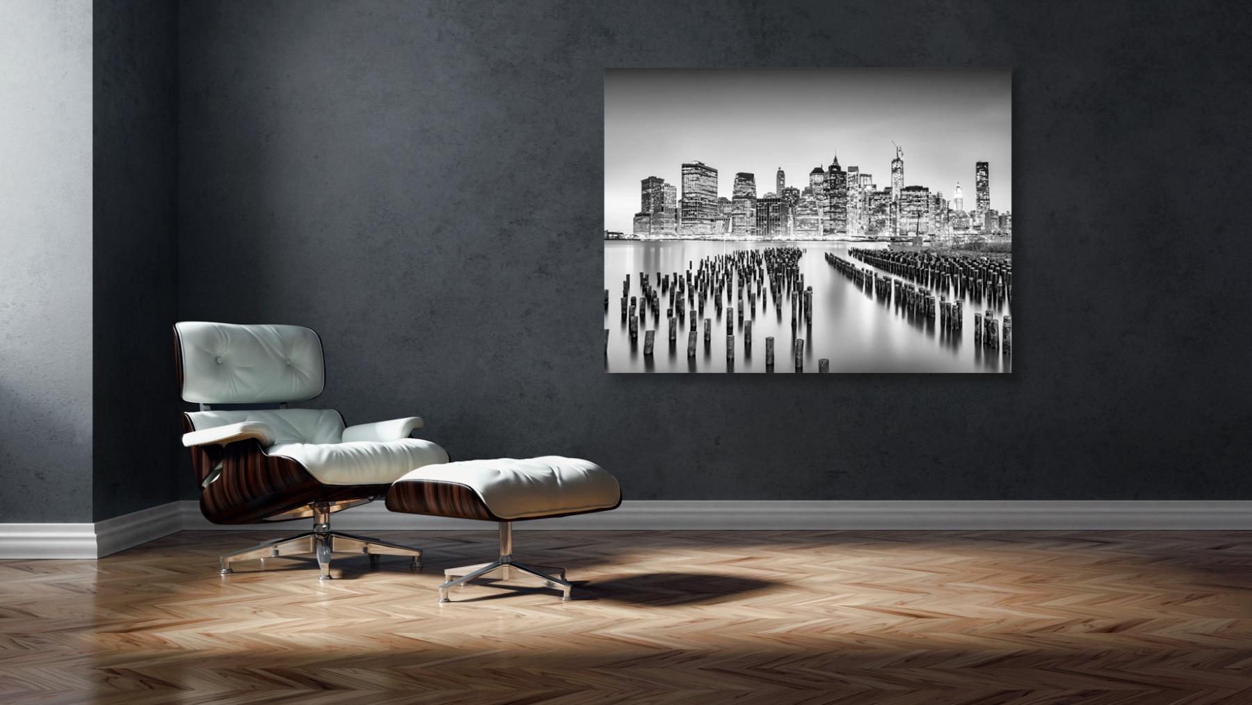 USA; NYC, downtown, night Skyline, seen from Brooklyn Bridge Park © by Gerry Pacher