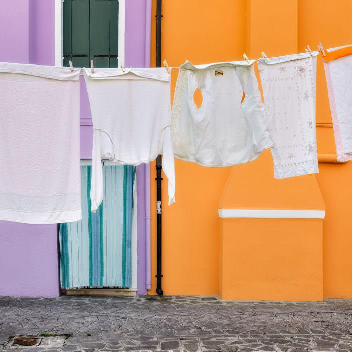 purple, orange, clothesline - Italy, Venice, Burano © by Gerry Pacher