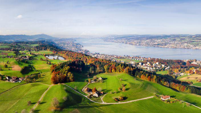 Luftaufnahme, Immobilienprojekt, Zürich, Arn Horgenberg mit Zürichsee © by Gerry Pacher