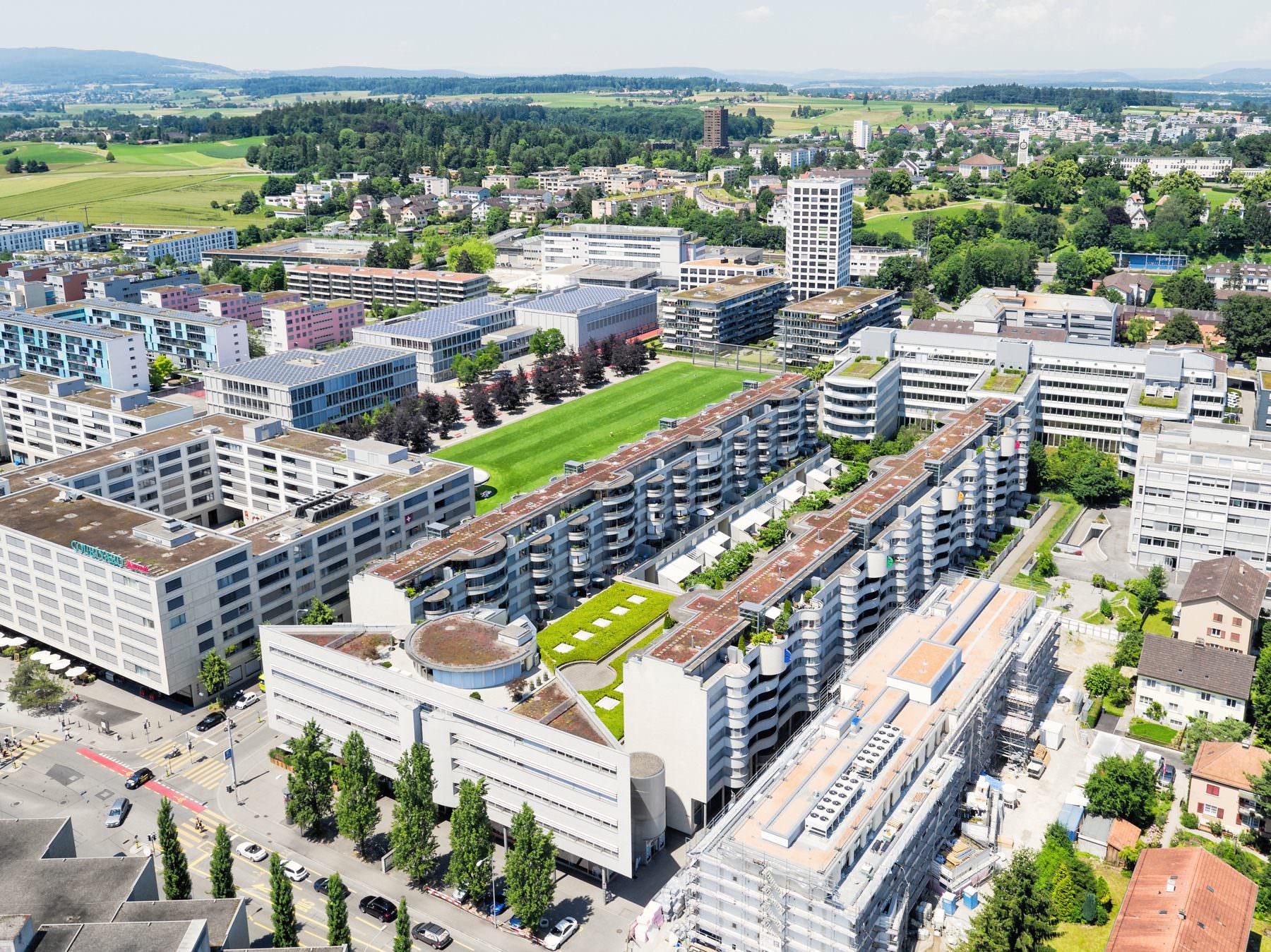 Luftaufnahme Immobilien BVK Binzmühlepark Luftaufnahme, gesamtes Gebäude, 150m, Züric © by Gerry Pacher