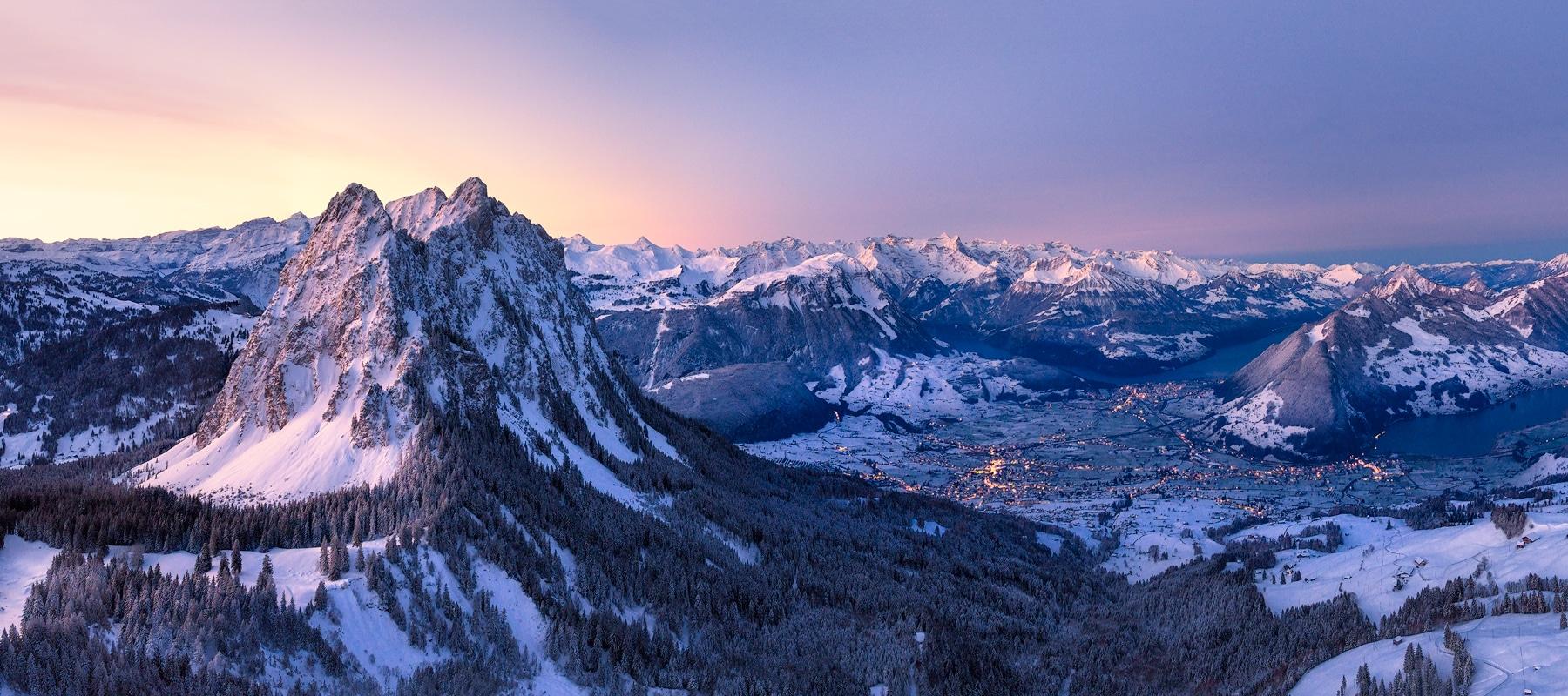 Luftaufnahme Winter, Mythen, Schwyz, vierwaldstättersee © by Gerry Pacher Photography
