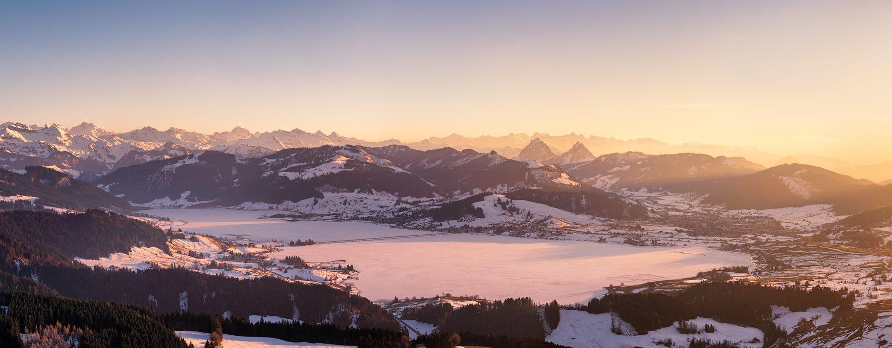 Switzerland, Schwyz, Aerial Photograph, Lake Sihlsee, Einsiedeln, Snow Mountain, Sunset © by Gerry Pacher