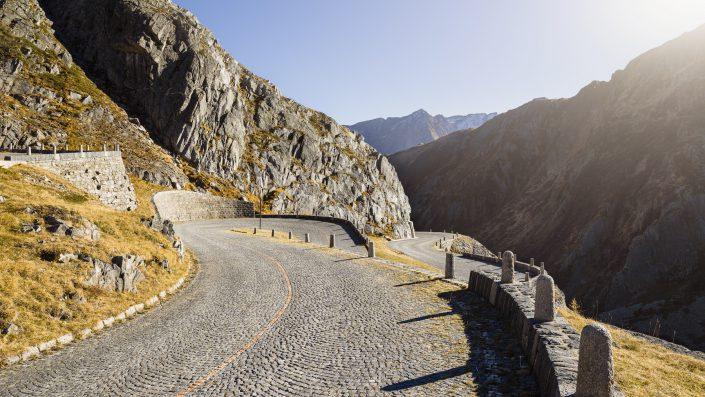 Tremola die historische Passstrasse am Gotthard / Tessin / Schweiz