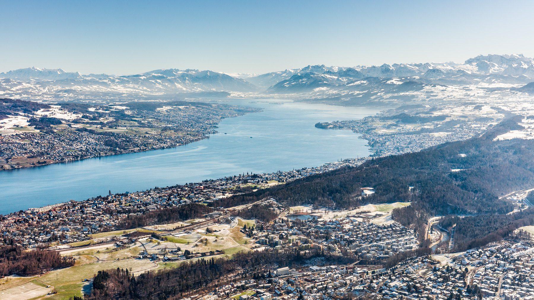 Luftaufnahme Adliswil, Rüschlikon, Zürichsee, Küsnacht, Meilen