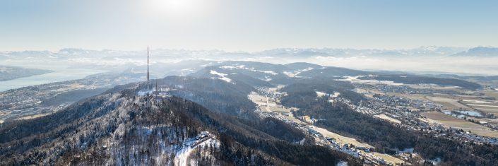 Winter Panorama Uetliberg, Zürichsee, Glarneralpen, Schwyz, Zug, Knonaueramt