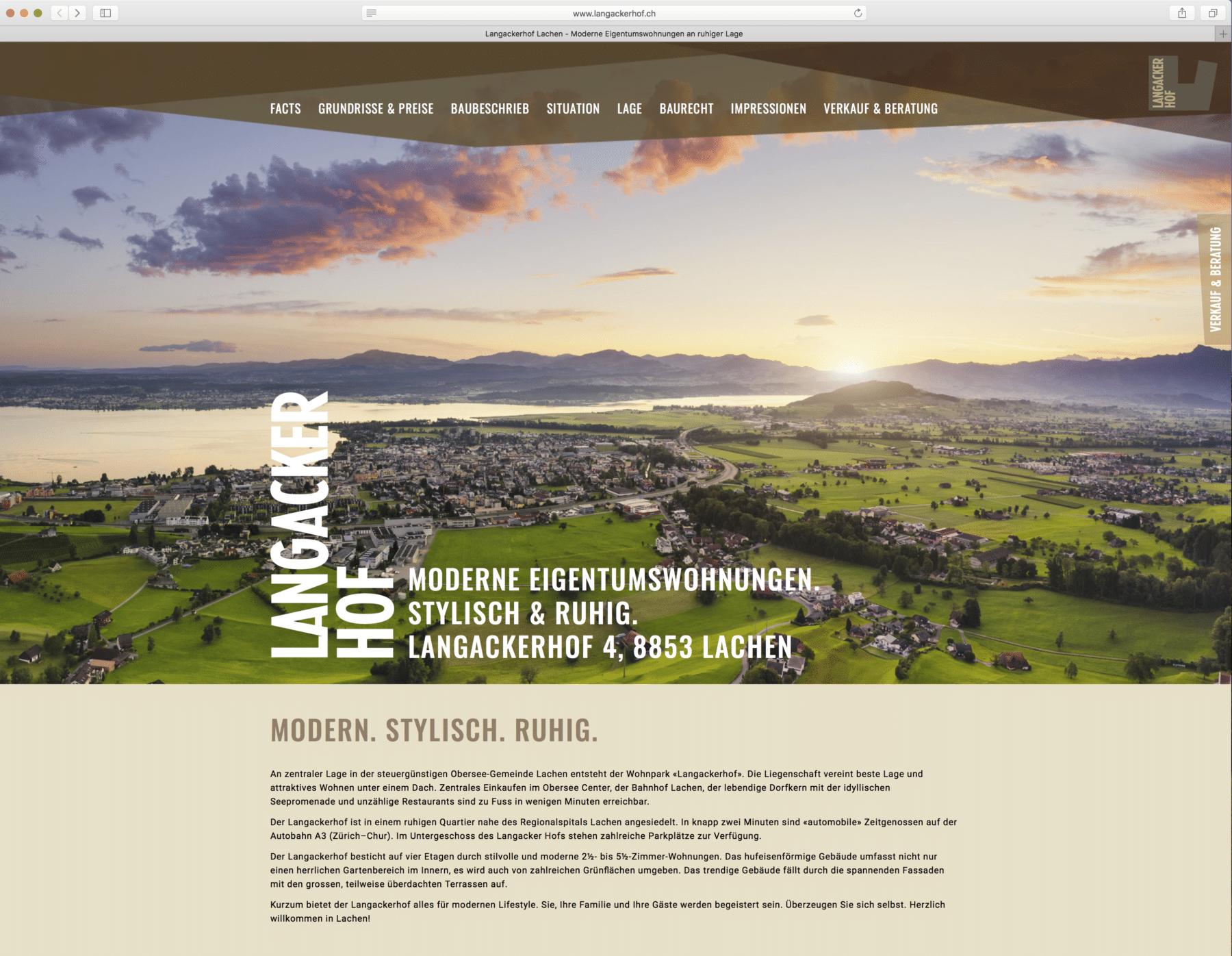 Luftaufnahmen Landschaftsaufnahmen für das Bauprojekt Langackerhof in Lachen