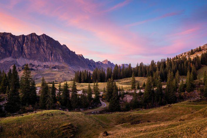 Landschaftsfotografie: Silberen, Bödmerenalp, Herbst, Sonnenuntergang