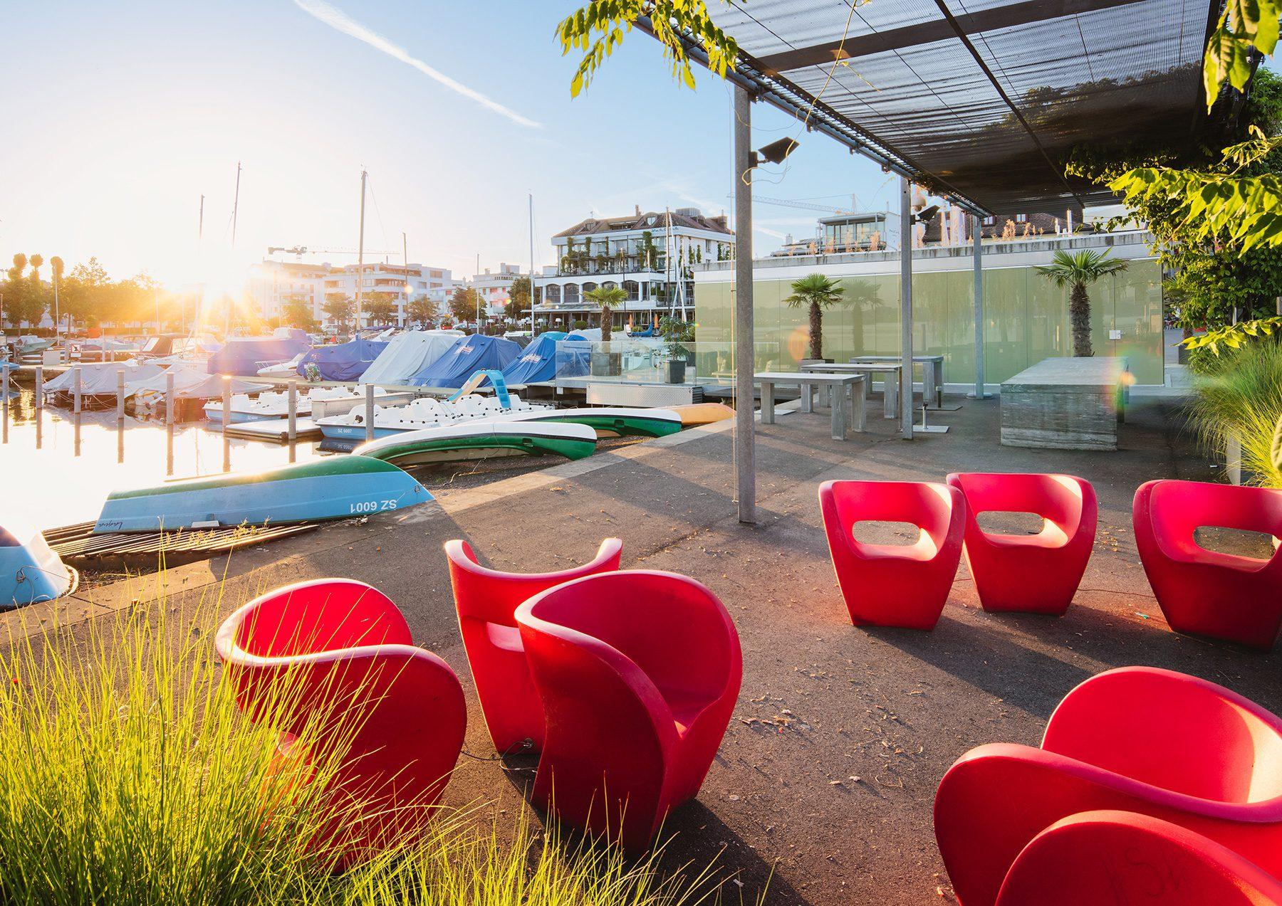 Schwyz Lachen Marina Sonnenaufgang Lounge - Stock Image