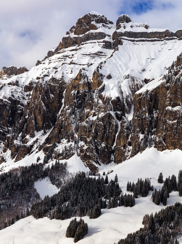 Winterliche Aufnahme des Forstbergs - Seite Muotathal