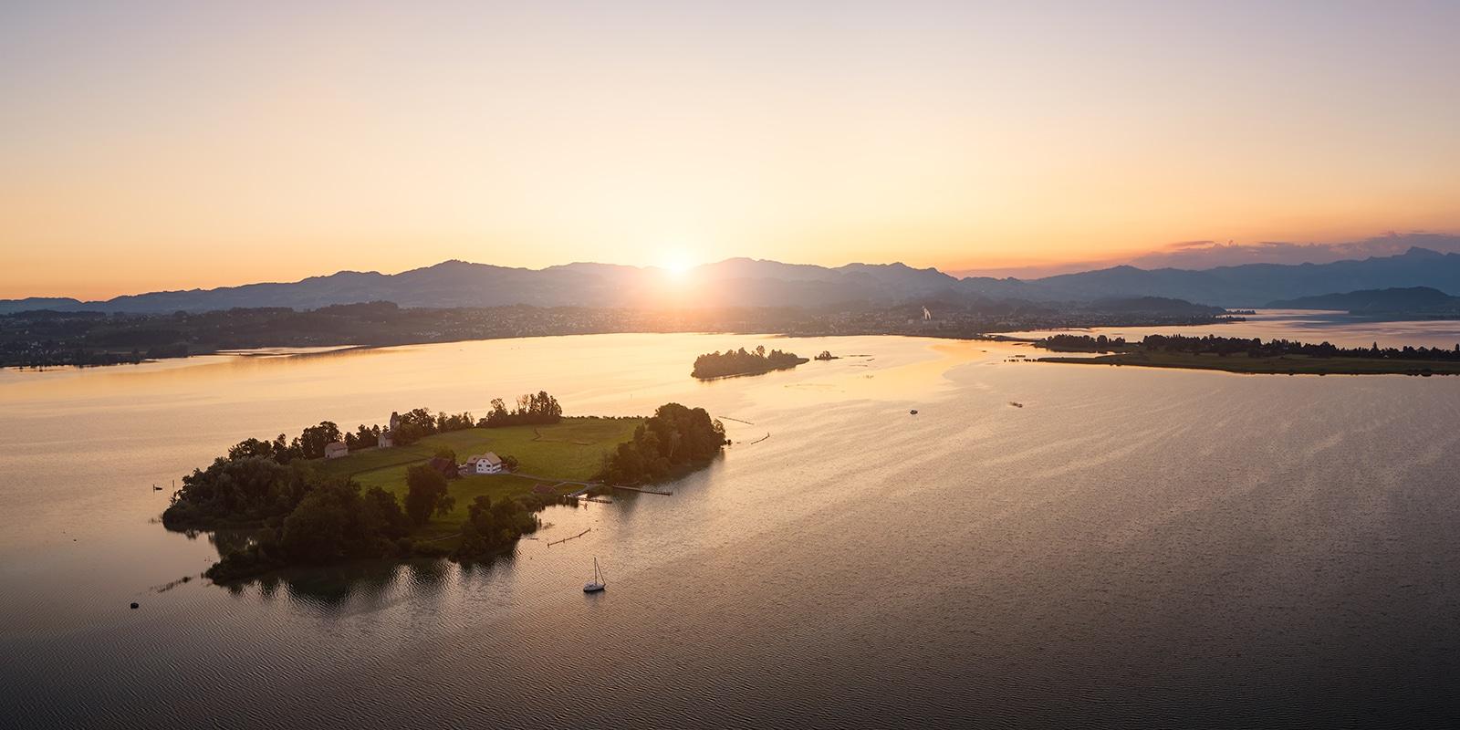 Sonnenaufgang - Ufenau - Lützelau - Zürichsee