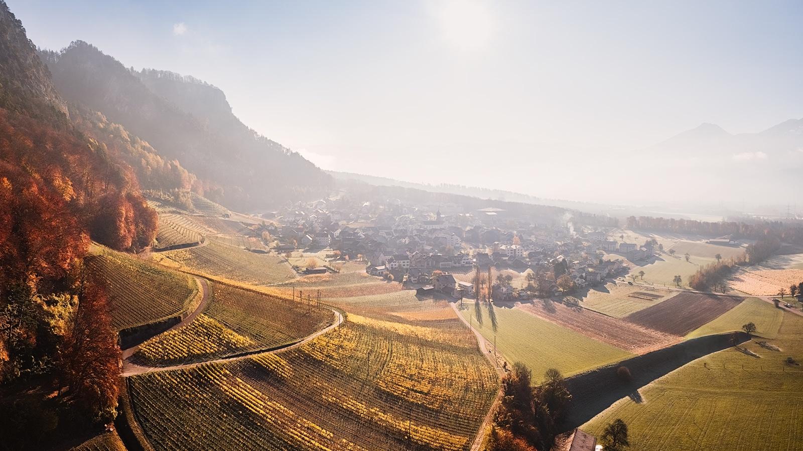 Herbstliche Luftaufnahme der Rebbergen von Fläsch / Graubünden. Blück auf die Reben, Fläscherberg und Vormittagssonne.