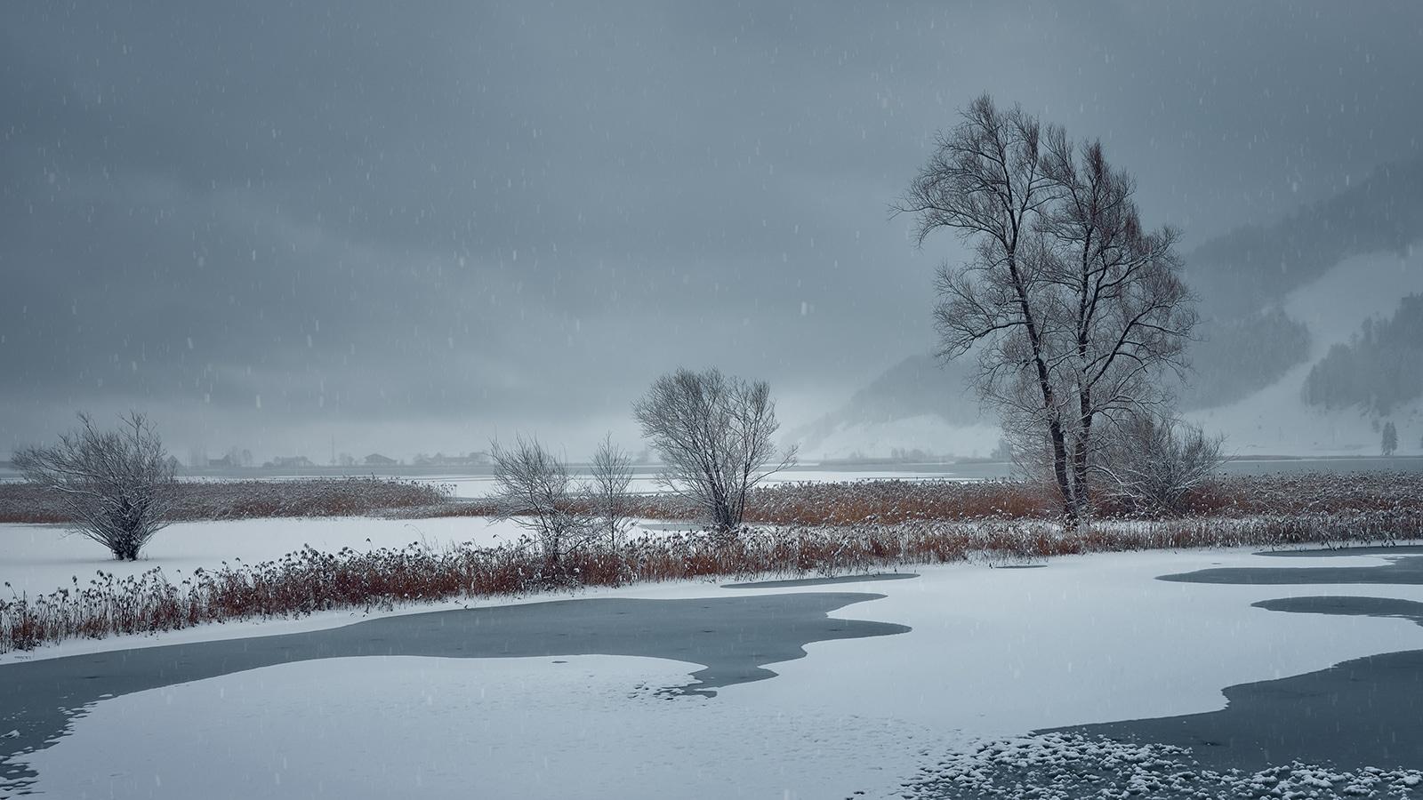 Schneetreiben am Sihlsee in Euthal