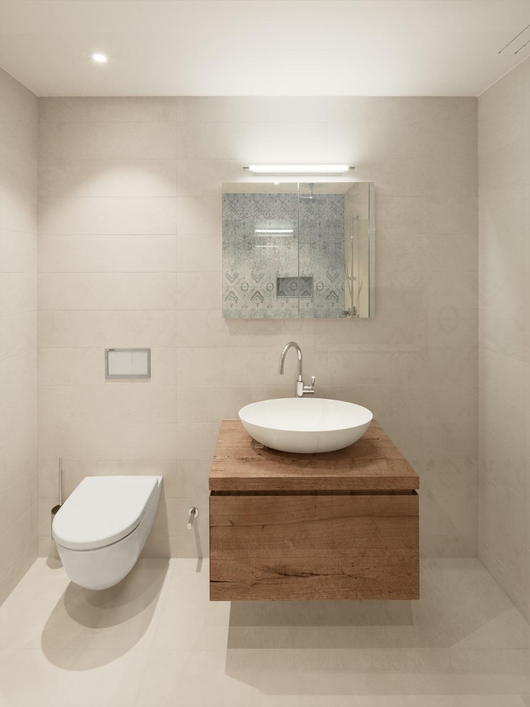 Bäder - Bad-Ansichten - helles, warmes Bad mit Holz Möbel und Natursteinplatten