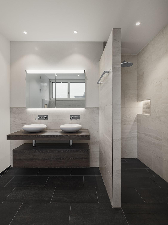 Bäder - Bad-Ansichten - beiges Bad mit Dusche und rundem Lavabo