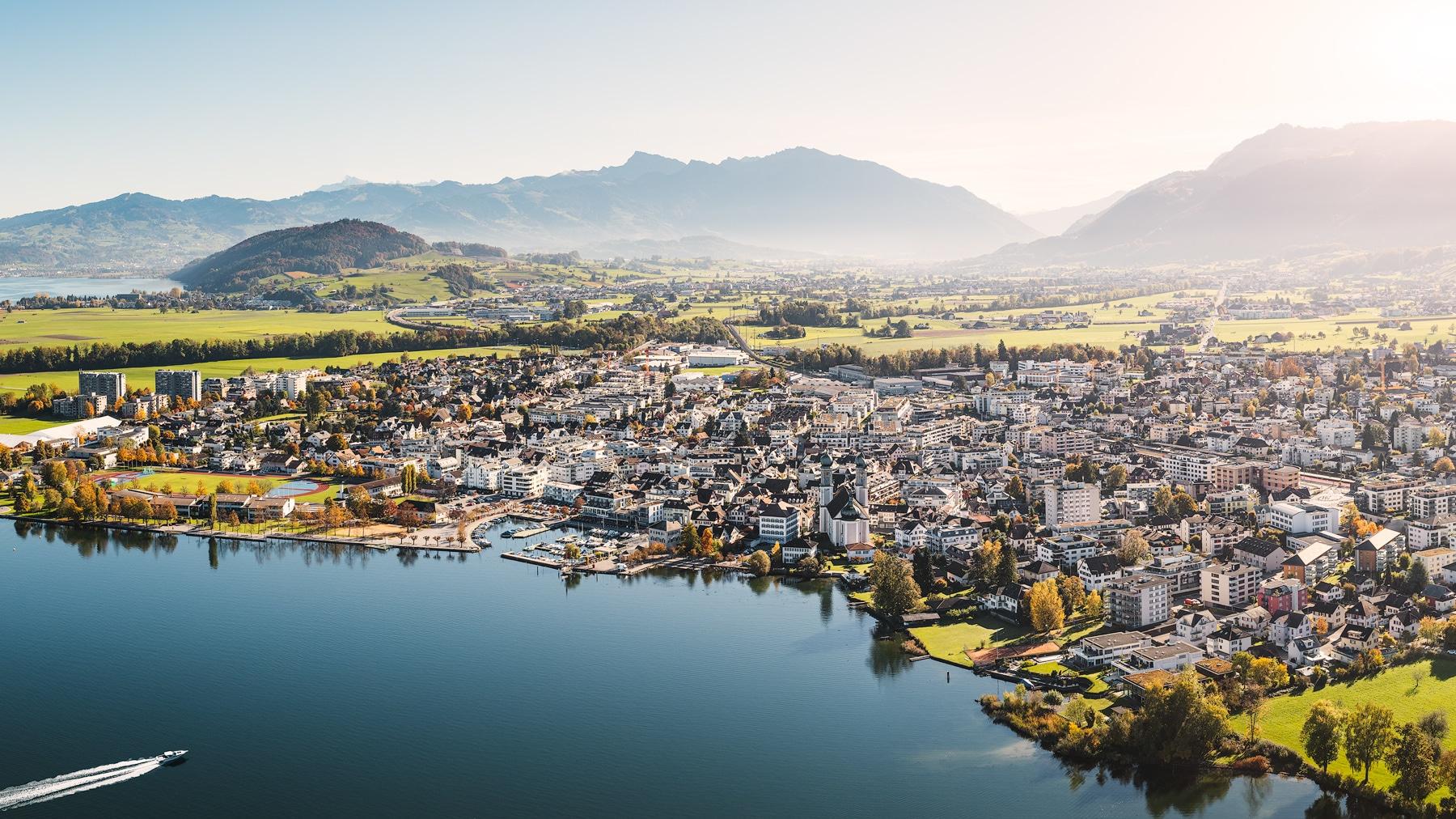 Luftaufnahme - Obersee - Lachen - Hafen - Marina - Linthebene