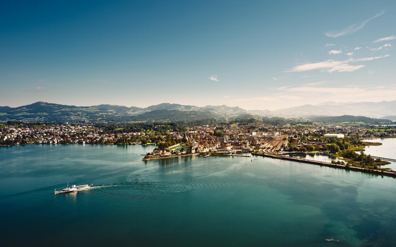 Luftaufnahme Rapperswil-Jona, Zürichsee, Dampfschiff Stadt Rapperswil