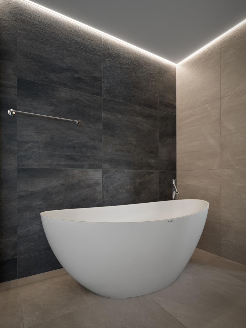 Bad freistehende Badewanne HOESCH Blick in die Ankleide und Schlafzimmer