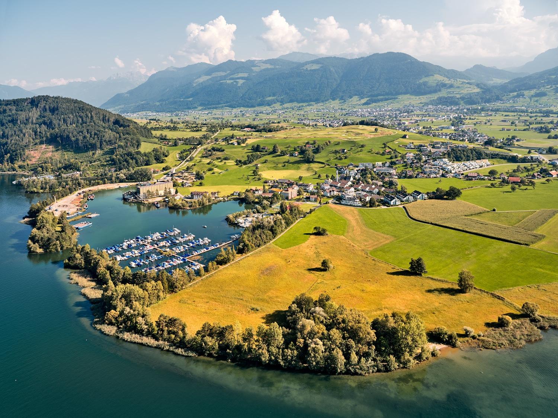 Nuolen, Ried, Seehafen, Golfplatz Obersee, Luftaufnahme