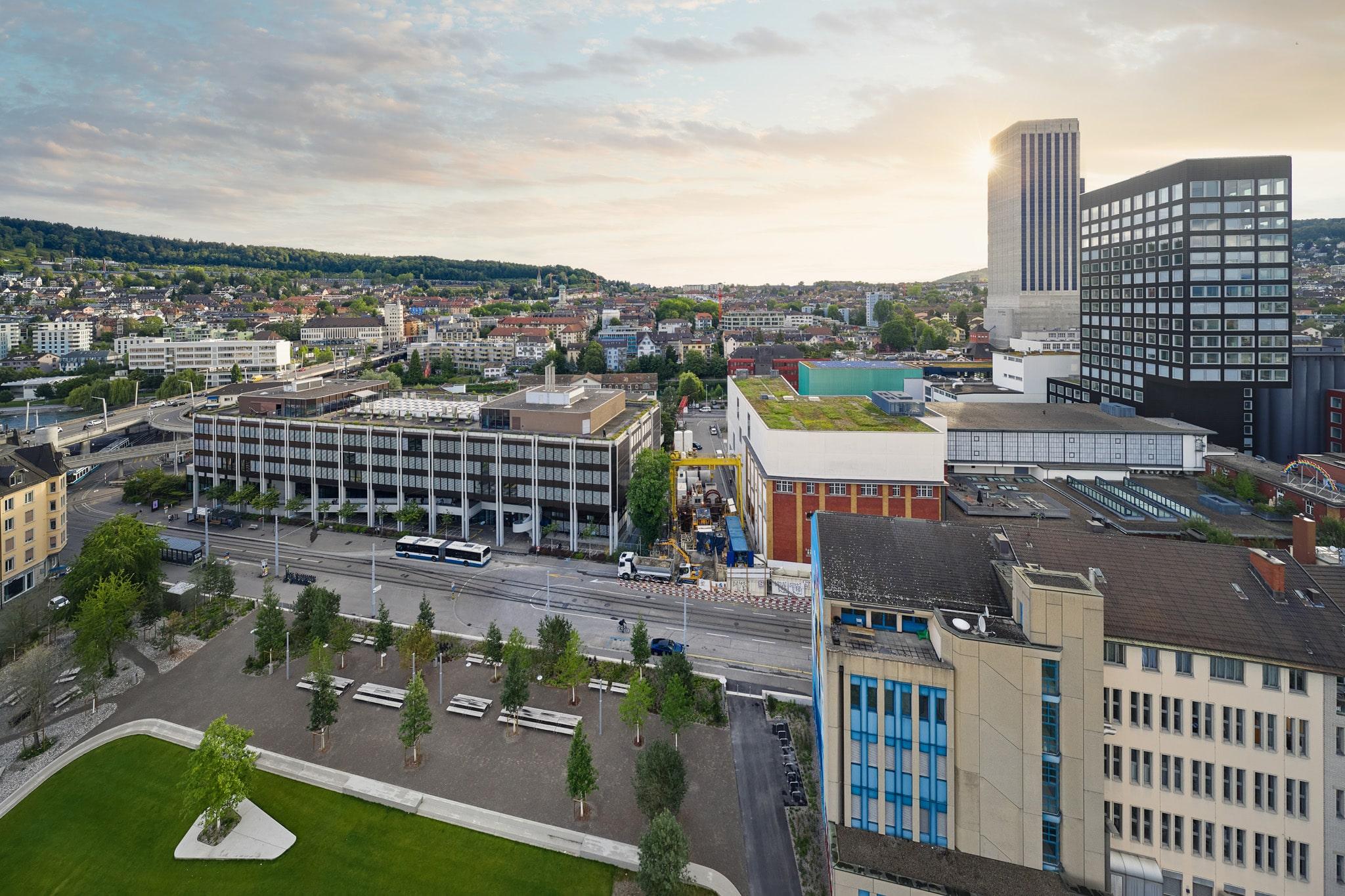 """Sonntag Bau AG - Fernwärme Projekt Zürich - Microtunneling Blick auf den Startschacht Gestenstrasse und dem Zielort """"Rothstrasse"""""""
