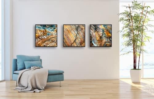 Triptychon - Earthy Rocks - limitierte Fine Art Edition erdfarbige Natursteinstrukturen